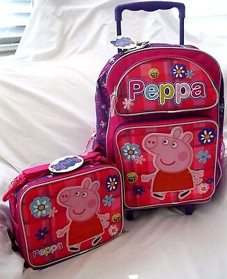 """Peppa the Pig 16"""" Pink Flowers Rolling Backpack & Peppa Pig Matching Lunch Bag"""