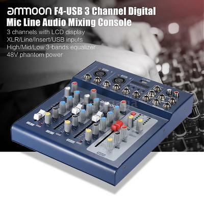 ammoon F4-USB 3 Kanal Digital Mic Line Audio Mixing Console Blue Hot A9Q6
