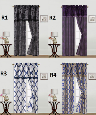 5Pc Set Solid Rod Pocket Window Curtain With Valance And Tie Back Knight