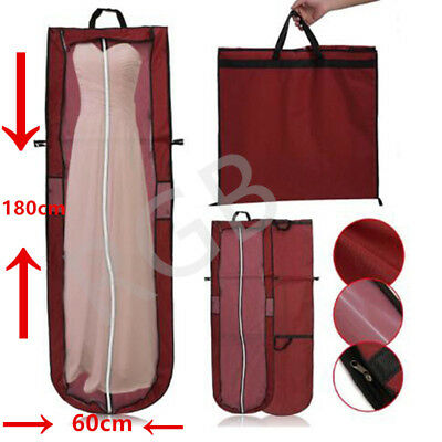 "UK 72""Dustproof Wedding Dress Bridal Gown Garment Cover Storage Bag Carrier Zip"