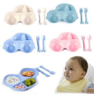 Baby Toddler Divided Bowl One-Piece Child Kids Dinner Placemat Food Plate Tray