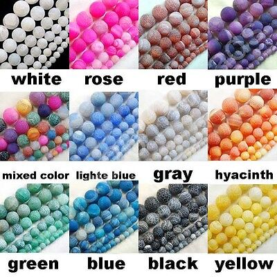 4mm 6mm 8mm 10mm 12mm Matte Frosted Fire Crackle Agate Gemstones Round Beads 15""
