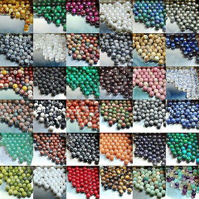 100pcs Wholesale Natural Gemstone Round Spacer Loose Beads Lot Free Shipping 8mm