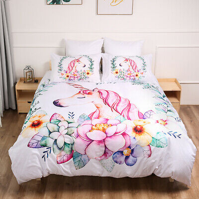 Unicorn Floral Duvet Doona Quilt Cover Set Single Double King Queen Size Bedding