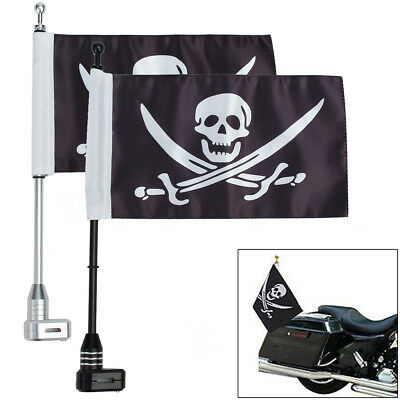 Motorcycle Rear Side Jolly Roger Flag Pole Mount For Luggage Rack Harley Bike