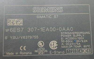 Siemens Simatic S7 6Es7 307-1Ea00-0Aa0 Power Supply (R2S8.6B3)