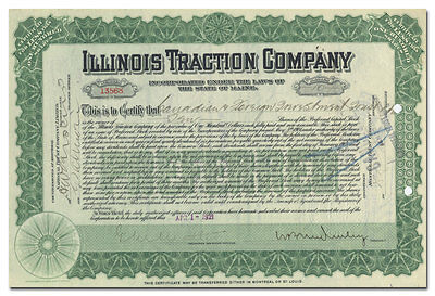 Illinois Traction Company Stock Certificate