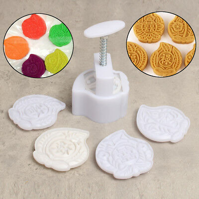 5 Stamps Peach Shape 125g Moon Cake Mooncake Mold Baking Mould Pastry DIY Tools