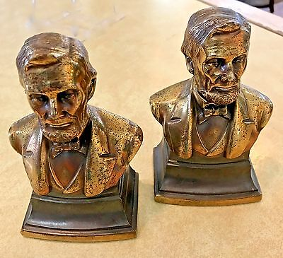 Antique Brass Abraham Lincoln Bookends by PHILADELPHIA MFG. CO.