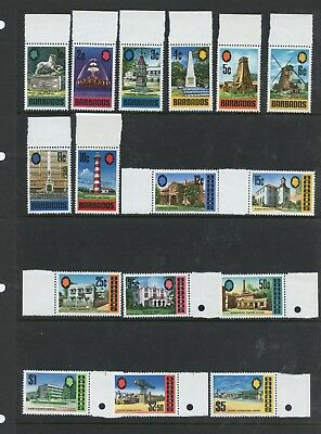 Barbados  1970 #328-43  buildings lighthouse airport   16v.  MNH   K826