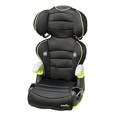 Adjustable Safety Big Kid High Back Car Seat Booster W/ Cup Holders Black Green