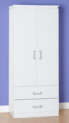 Charles 2 Door 2 Drawer Wardrobe in WHITE  Free Delivery