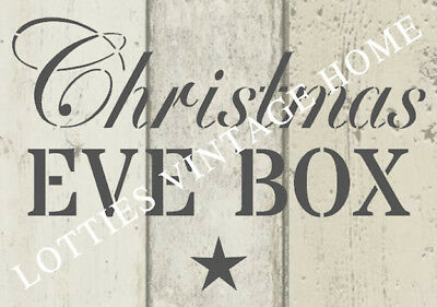 STENCIL A5  - CHRISTMAS EVE BOX  - Furniture Fabric Crates Vintage Shabby Chic
