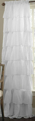 """One (1) Gypsy Ruffled Layerd Sheer Curtain Panel, White, 60"""" wide by 84"""" long"""