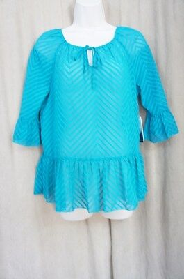 Kensie Knit Top Sz XS Deep Teal Textured Chiffon Sheer Peasant Blouse Casual
