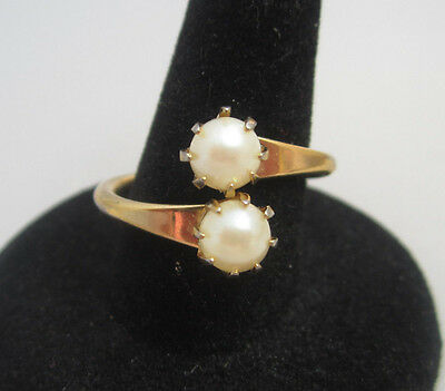 Vintage OLDER SARAH COVENTRY DOUBLE PEARL WRAP RING Size 6.5 Gold Plated Estate