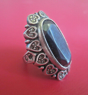 Antique Art Deco OSTBY BARTON HEMATITE MARCASITE HEART STERLING SILVER RING Sz 5