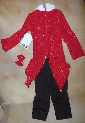 NWT Boys Dance Costume 6x-7CHILD Zip back jumpsuit tails pieces Red hologram dot