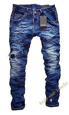 NEW Dsquared2 Men's Cool Guy Jean Slim Fit Elastic Torn Blue Jeans Made in Italy