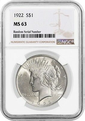 1922 $1 Silver Peace Dollar NGC MS63