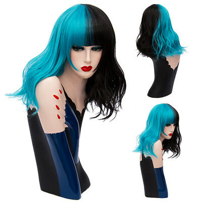 Sea green&Black Heat Resistant Beach Waves Hairstyle Cruly Long Party Women Wig