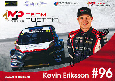 Kevin Eriksson Signed 8X12 Inches 2017 Rallycross Ford Photo Card