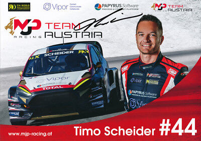 Timo Scheider Signed 8X12 Inches 2017 Rallycross Ford Photo Card