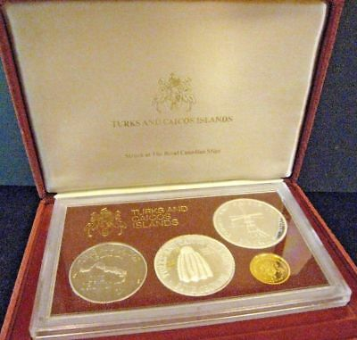 Turks & Caicos Islands 1976 Gold & Silver Proof Set in Box with COA