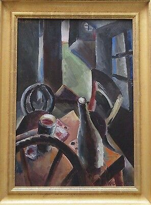 Anders Aldrin Painting Wpa Era 1920's Modernism Abstract Antique Vintage Cubist