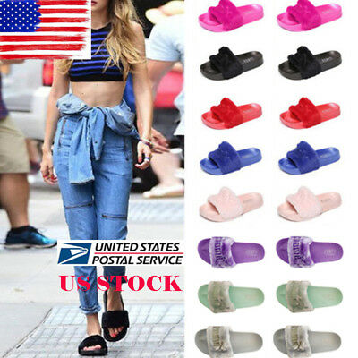 US Womens Celeb Fluffy Fur Slides Outdoor Sandals Home Slipper Rubber Flip Flops