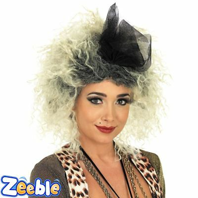 Womens 1980s Popstar Wig Madonna Wig with Bow Fancy Dress Accessory