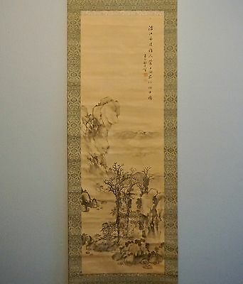 18th Century Chinese Landscape Ink on Silk Scroll Painting