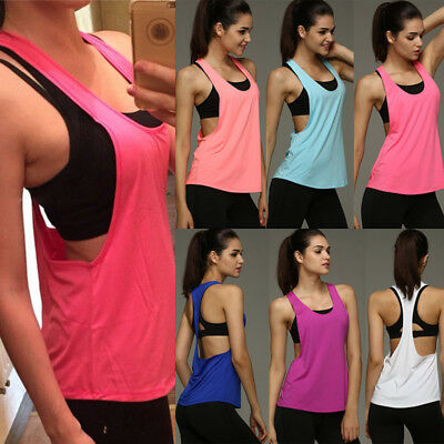 Women Tank Tops Quick Dry Loose Fitness Sports Sleeveless Smock Vest Running GW