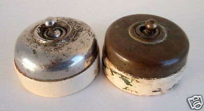 Vintage Old Collectible 2 Pc Brass & Ceramic Victorian Electric Switches Germany