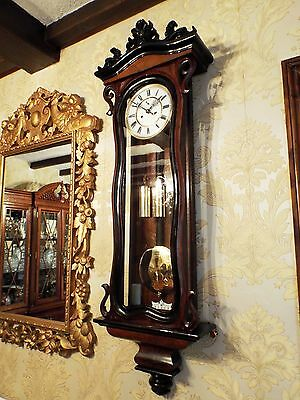 Antique 2 weight Vienna regulator wall clock walnut,serpentine case