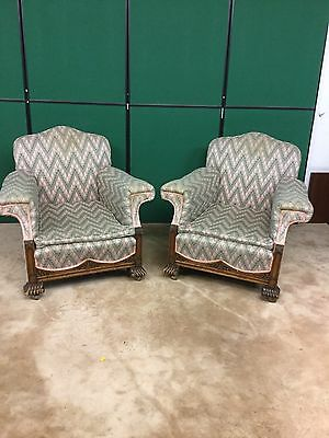 Antique 1920's Pair Of Oak Framed Armchairs