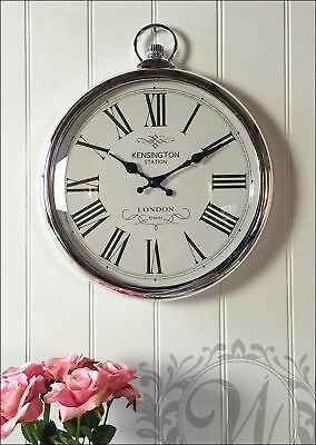 Large Antique Vintage Wall Clock Shabby Chic Hanging Pocket Watch Silver Gift