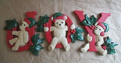 Vintage ~ HOMOCO ~ Set of 3  J O Y Bear Letters for Wall or Tree ~ #7610