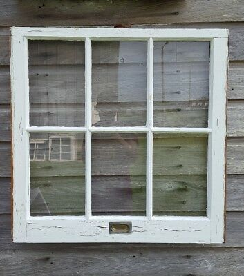 VINTAGE SASH ANTIQUE WOOD WINDOW PICTURE FRAME PINTEREST RUSTIC 28x28 + hardware