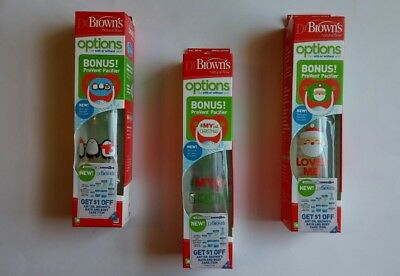 Dr. Brown's Natural Flow 8oz Baby Toddler Bottle PreVent Pacifier Christmas Set