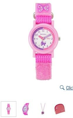 Tikkers Girls' Pink Strap Watch, Purse and Necklace Set Gift Present
