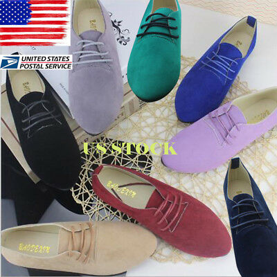 US Ladies Lace up Flat Suede Oxfords Womens Casual Flat Single Boat Shoes Size