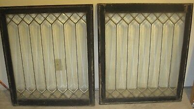 "Match Pair Antique Beveled And Leaded Glass Windows 30"" X 35"" X 1-3/5"" wood fram"