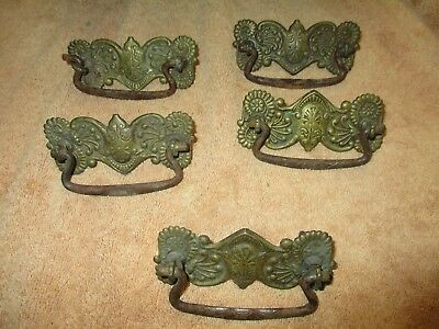 5 antique victorian dresser Drawer pulls handles Brass and iron