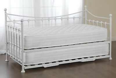 Scarlet Metal Day Bed With Pull Out Trundle In Black Or White Finish 3FT Single