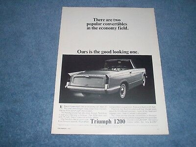 """1964 Triumph 1200 Vintage Ad """"There Are Two Popular Convertibles......"""""""