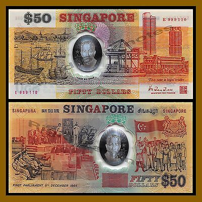 Singapore 50 Dollars, ND 1990 P-31 First Parliament Commemorative Polymer Unc