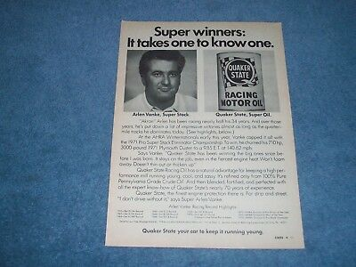 "1971 Quaker State Oil Vintage Ad with Arlen Vanke ""Super Winners:...."""