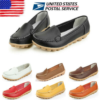 US Womens Moccasin Slip On Comfort Leather Pumps Casual Loafers Work Shoes Size
