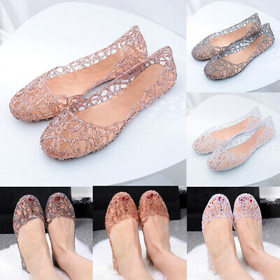 US Women Crystal Jelly Ballet Flats Glitter Sandals Hollow Ventilate Shoes Size